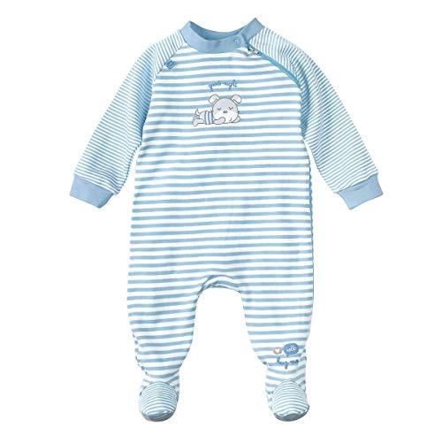 Bornino Schlafoverall - Baby-Schlafstrampler mit Streifen- & Bärchen-Print - Strampler aus Reiner Baumwolle mit praktischem Reißverschluss