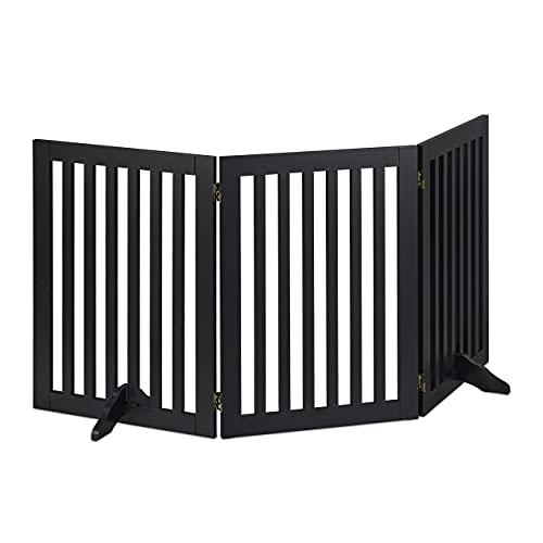 Relaxdays Absperrgitter, freistehendes Schutzgitter, HxB: 70 x 154 cm, mit Füßen, Hunde, Kindergitter klappbar, schwarz