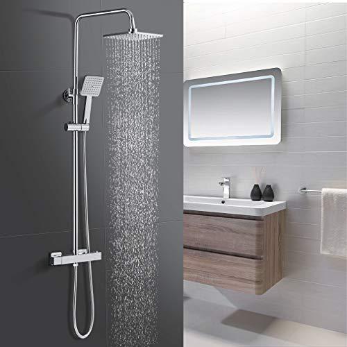 WOOHSE Duschsystem mit Thermostat, Regendusche, Handbrause, Brauseschlauch 1.5m, Duschset 304 Edelstahl Duscharmatur mit Höhenverstellbarer Duschstange: 81-115cm, Für Badezimmer Dusche, Eckig
