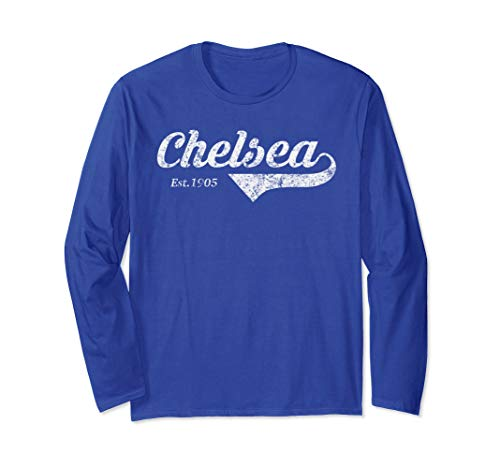 Retro Soccer Jersey Chelsea Top Blues London Distressed Gift Long Sleeve T-Shirt