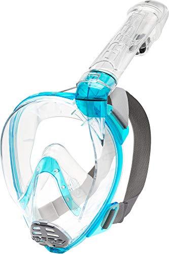 Cressi Baron Full Face Mask Máscara Integral Snorkel de Visión Grande con Tubo Respirador, Unisex-Adult, Transparente Aquamarine, S M