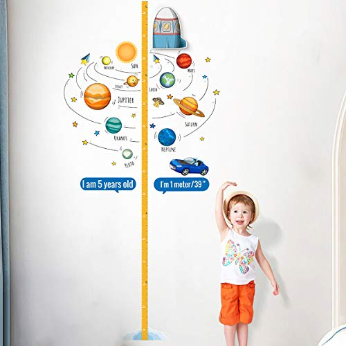 PAPERKIDDO Baby Höhe Diagramm Wachstumsmesser für Kinder Jungen Mädchen 3D bewegliches Rakete Wandtattoos Wandaufkleber für Baby Kinderzimmer Schlafzimmer Wanddekoration