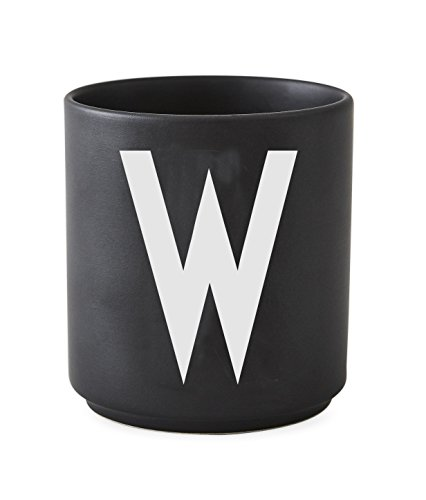 Design letters AJ porseleinen beker A-Z zwart-W