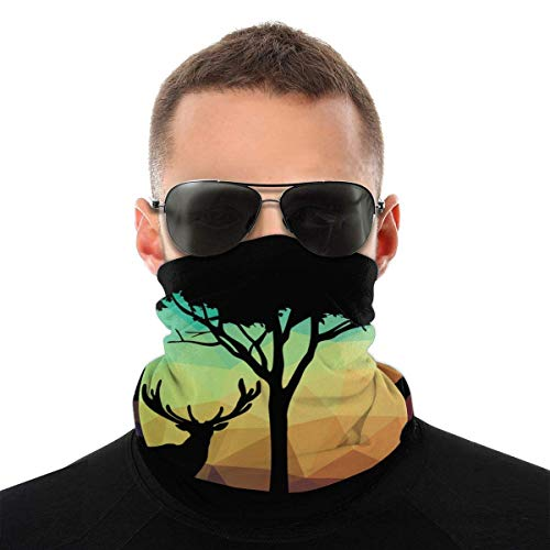 JONINOT Deer Poly Nature Unisex Sciarpa per il viso Bandana Anelli per le orecchie Viso Rave Passamontagna Uomo Donna Ghette per il collo per polvere Vento Copertura per moto UV