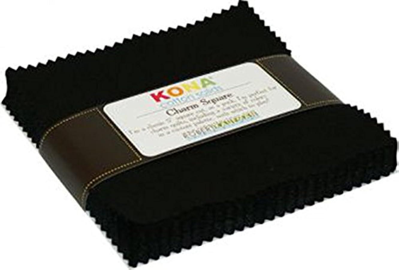 Robert Kaufman 5in Squares Kona Solids Black Colorway 42Pcs