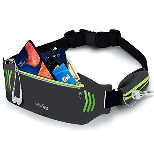 ランニングポーチ 軽量 防水 ウェストバッグ ジョギング スポーツ用 反射材 スポーツ 旅行 遠足 サイクリング 登山用 レディース・メンズ兼用 (グレー)