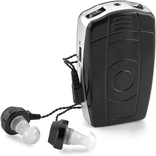 Digital Personal Sound and Voice Amplifier - Pocket Sound by MEDca with Single Ear and Double Ear Headphone Earbuds with Microphones The Best Hearing for Adults or Listening Device