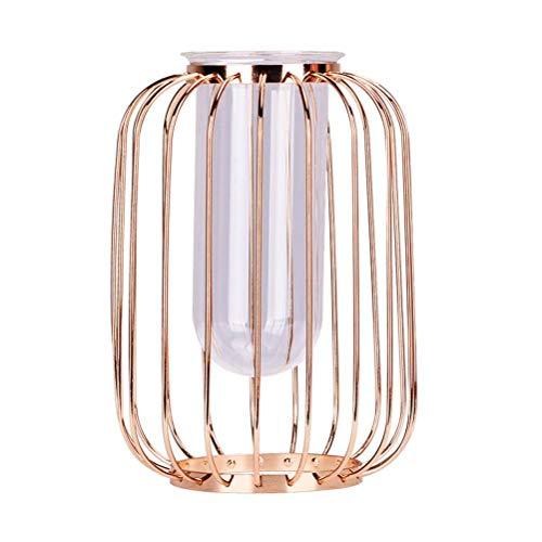 Thumby Home Decoratie Ambachten Desktop Ornament Europees-Style Metalen Glas Vaas Decoratie Woonkamer Bloem Arrangement Amerikaanse Model Kamer Eettafel Creatief Licht Luxe Woondecoratie Trompet