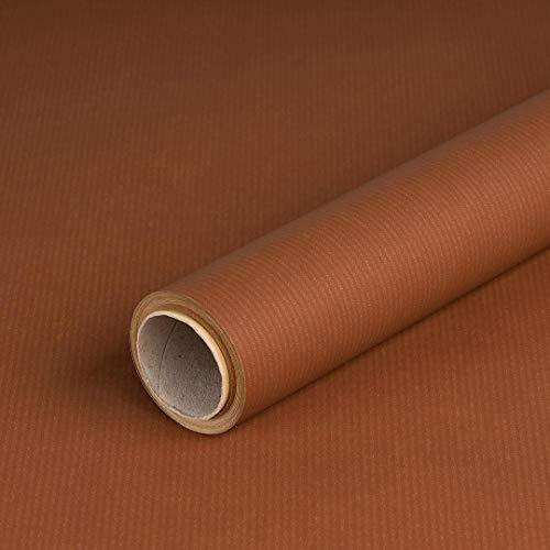 Geschenkpapier Braun, einfarbig, Kraftpapier, gerippt, 60 g/m², Geburtstagspapier - 1 Rolle 0,70 x 10 m