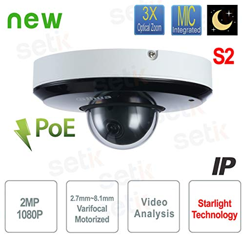 Dahua - Telecamera IP PTZ 2MP 3X Starlight IVS Audio PoE Dahua - SD1A203T-GN