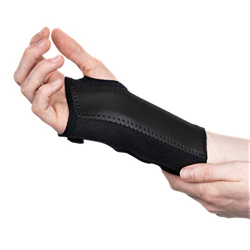 Actesso Handgelenkschiene - schiene für Karpaltunnel, Fraktur, Zerrungen und sehnenscheidenentzündung – Schwarz Elastich (Mittelgroß Rechts)
