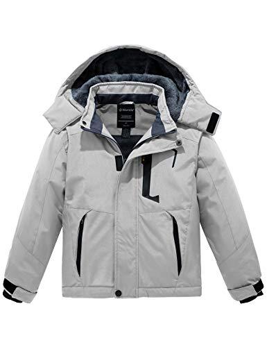 Wantdo Boy's Mountain Ski Fleece Jacket Waterproof Winter Warm Outdoor Rain Jackets Grey 8
