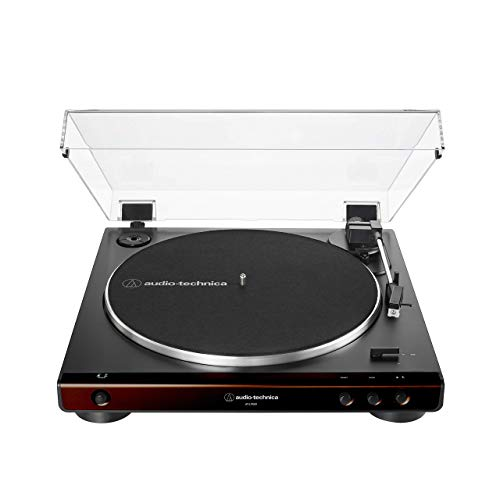 Audio-Technica at-LP60X-BW Fully Automatic Belt-Drive Stereo Turntable, Brown/Black, Hi-Fidelity, Plays 33 -1/3 and 45 RPM Vinyl Records, Dust Cover, Anti-Resonance, Die-Cast (Renewed)