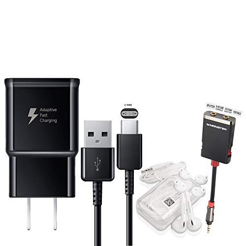 Offical OEM Samsung Adaptive Fast Charging Black Charger - for Samsung Galaxy S8/S9/S10+/Note8/Note9 & W/Headset & Splitter (Combo Pack)