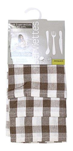 Soleil d'ocre Lote de 3 servilletas de algodón Carreaux NORMANDS Gris Topo, Jacquard 45 x 45 cm