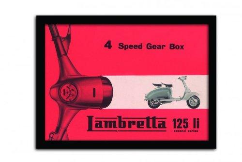 Lambretta Gerahmtes Poster Motorroller Schaltung mit 4 Gängen