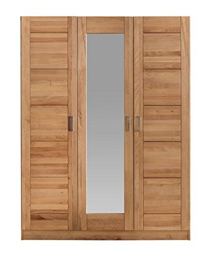Kleiderschrank Kernbuche massiv Vollmassiv mit Spiegel 3 Türen