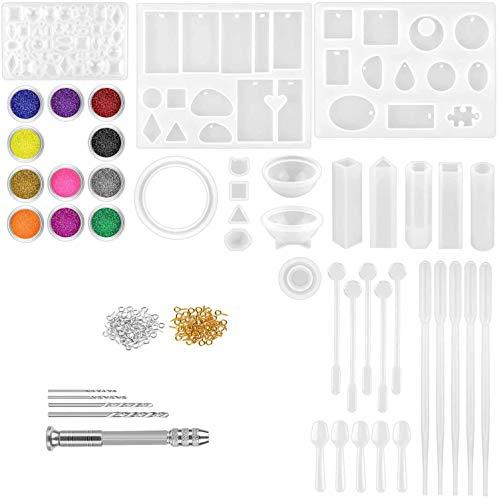 Kit de fabricación de joyas de resina, 131 moldes de resina epoxi para principiantes con suministros para hacer pendientes, collares, herramientas y bolsa de almacenamiento y decoraciones.