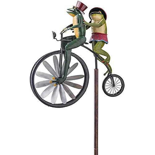 RREE Animal on Bike Frog Yard,Vintage Bicicleta Molino de Viento Jardín Estaca Wind Spinner Deco, Metal Wind Spinner Frogs, para Patio Patio Césped Decoración 11x8.6x1.5in