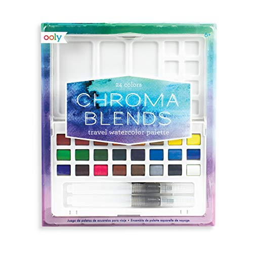 Ooly Chroma Blends Travel Watercolor Palette, 4 x 7 Inches - 24 Colors