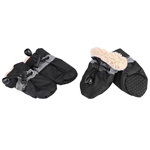 Fdit 4Pcs Hund Schuhe Paw Protektoren mit elastischen Befestigung Band Set Anti-Rutsch-Sohle Haustier Hund Schuhe Stiefel wasserdichte weiche Baumwolle gepolstert(#4-Black)