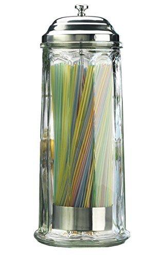 Dispensador de popote de vidrio pesado Naisidier, dispensador de popote de vidrio con cubierta de base cromada, 28 cm de alto