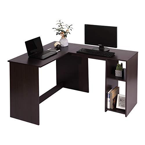 Schreibtisch Winkelkombination Computertisch Eckschreibtisch L-förmiger PC-Tisch Bürotisch mit Regalebenen