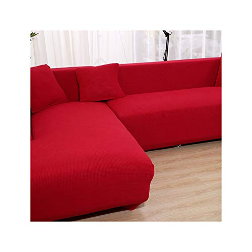 HGblossom Fundas de sofá de Esquina de Terciopelo para Sala de Estar Funda de sofá de sección sólida Funda de sofá Gruesa y elástica Funda de sofá de Felpa Color 7 2 plazas 145-185 cm