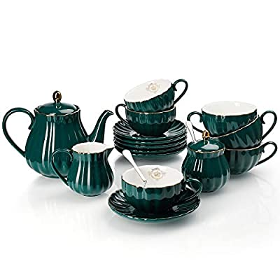 Amazingware Porcelain Tea Set - Tea Cup and Saucer Set Service for 6, with 28 ounces Teapot Sugar Bowl Cream Pitcher Teaspoons and Tea Strainer - for Thanksgiving - Pumpkin Fluted Shape, Dark Green