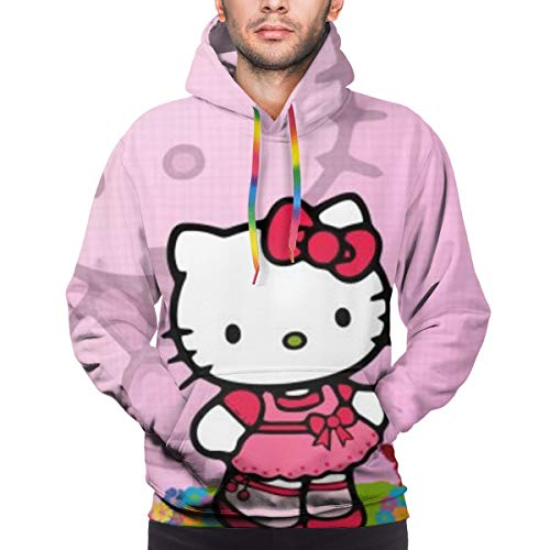 Hello Kitty Hoodie Unisex 3D All-Over Printed Lightweight Pullover Mens Womens Hooded Sweatshirt. S Black