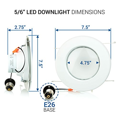 Hyperikon 6 Inch LED Recessed Lighting, 19W=100W 5 Inch, Retrofit Dimmable Downlight, UL, Energy Star, Daylight White, 4 Pack