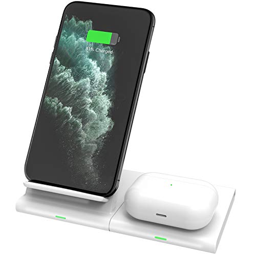 Hoidokly 2 in 1 Draadloze Oplader, QI Snelle Wireless Charger voor Samsung Galaxy Watch/Buds, S20/S20 Ultra/S10e/S10 Plus/S9/S8/S7/Note 10/9, iPhone 11/11 Pro Max/XS Max/XR/X/8 Plus, AirPods 2/Pro