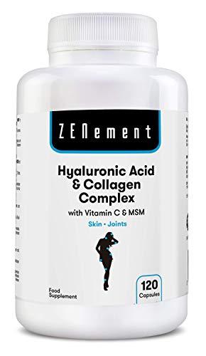 Ácido Hialurónico y Colágeno Complex con MSM y Vitamina C, 120 cápsulas, para combatir los efectos de la edad y tener una piel y articulaciones fuertes y saludables, No GMO, 100{cb096c56c76717d33d3b0c2dbf437356e7acfbc13d25690bede8a4cba368de31} Natural
