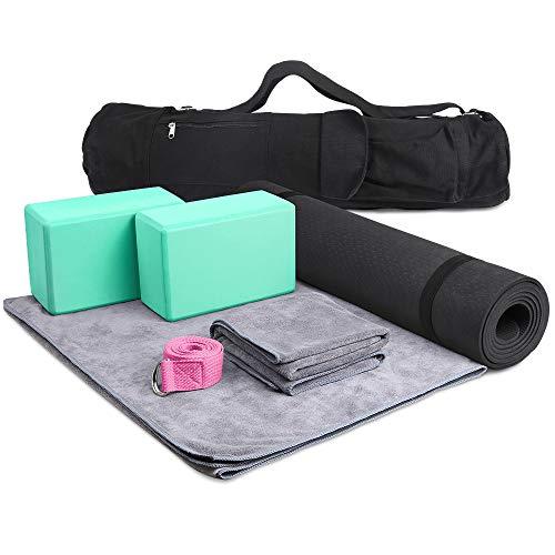 JBM Yoga Set 7 Piece - 1 Yoga Bag, 1 Yoga Mat with Carrying Strap, 2 Yoga Blocks, 1 Yoga Mat Towel, 1 Yoga Hand Towel, and 1 Yoga Strap with D-Ring Set for Yoga Starter Yogis (Teal, 7 Pieces)