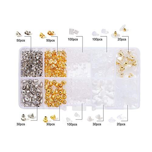 Wanfor Schmuckherstellungszubehör, 500 Stück, 10 Stil, Silikon, Metall, sortiert, sichere Ohrring-Verschlüsse, Box für Schmuck
