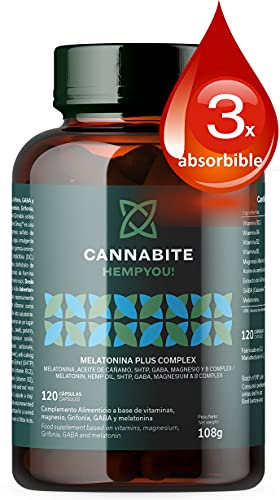 MELATONINA PLUS COMPLEX 120 Cápsulas | Aceite de semilla Cáñamo Virgen | 5HTP | GABARelax | Magnesio Marino | Vitaminas B COMPLEX | 3X Absorbible | Alta Biodisponiblidad | Relax y Descanso