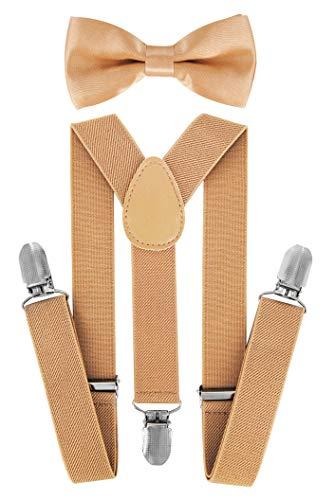 axy Hochwertige Kinder Hosenträger-Y Form mit Fliege- 3 Clips EXTRA STARK-Uni Farben (Beige)