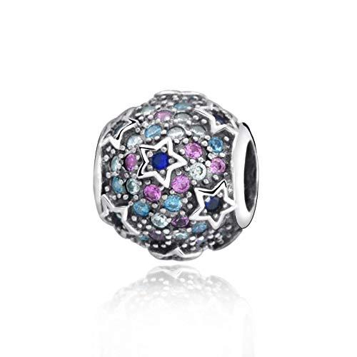 LILANG Pulsera de joyería 925 Pandora Cuentas de Color de Plata Real Natural Cuentas de Estrellas elevadas Pave Charm Fit Original DIY Gifts para Mujeres