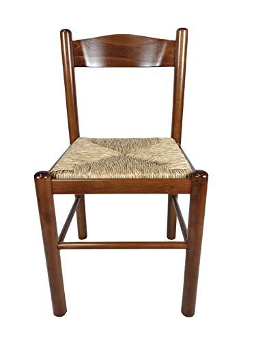 Sedia Pisa, In Legno Massello, Seduta in Paglia o Imbottita, Varie Colorazioni Disponibili, ORDINE MINIMO 2 PEZZI (Noce Chiaro)
