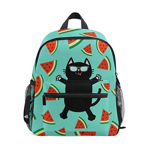 QMIN - Zainetto per bambini a forma di gatto nero, con frutta e anguria, per bambini e bambine