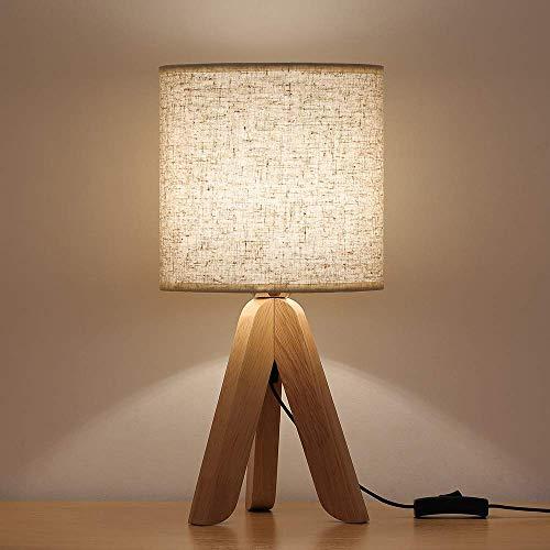 HAITRAL Kleine Tischlampe Nachttischlampe Leinen Lampenschirm Holzbasis für Büro Nachttisch Schlafzimmer