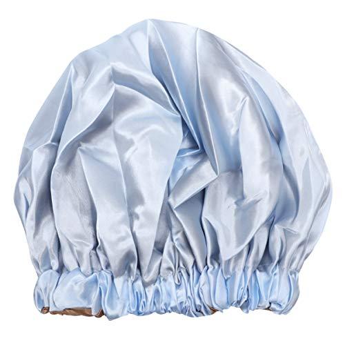 Lurrose Bonnets de Cheveux en Satin Bonnet Sommeil Bonnet de Nuit Réglable Double Couche Soyeux avec Cordon de Serrage pour Femme Salon de Maison Spa Dormir (Bleu Ciel)