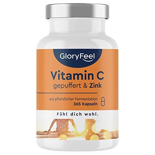 Vitamin C 1000mg + Zink - 365 Kapseln - Pflanzliche Fermentation & gepuffert (säurefrei & magenschonend) + 20mg Zink pro Tagesdosis - Laborgeprüft, vegan ohne Zusätze in Deutschland hergestellt