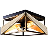 Ceiling Light Fixture,Two-Light Farmhouse Light Fixtures Square Kitchen Light Fixtures with Metal and Wood Flush Mount Light Fixture for Farmhouse,Bedroom,Hallway,Dining Room,Antique Gold & Black