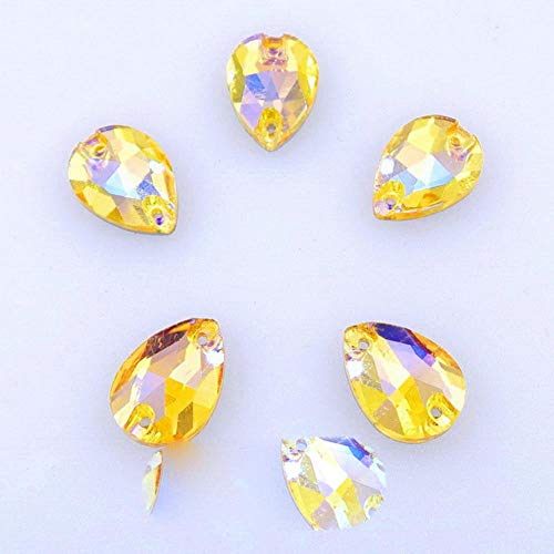 Fat Water Drop Shape AB Colors Glass Crystal Flat Back with Two Holes 4 Sizes Sew on Rhinestone Dress Shoes Bags DIY Trimming