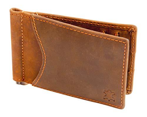 Kreditkartenetui mit Geldklammer, Echt-Leder Geldbeutel, Kartenetui mit Geldscheinklammer, Dollarclip mit Platz für 8 Karten, Mit RFID Schutz