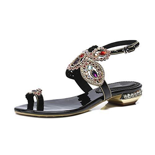 Sandalias Chanclas Elegantes de Moda de pedrería para Mujer Zapatos Planos cómodos para Damas Verano L054