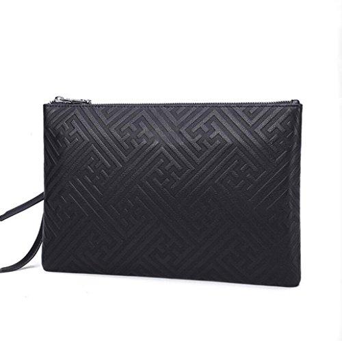 ZGJQ Business pochette da uomo impermeabile in rilievo fine borsa da uomo in morbida pelle (Colore: Nero, Taglia : Dimensione)
