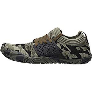 WHITIN Men's Trail Running Shoes Minimalist Barefoot 5 Five Fingers Wide Width Toe Box Gym Workout Fitness Low Zero Drop Slip On Runner Male Camo Camouflage Green Size 9