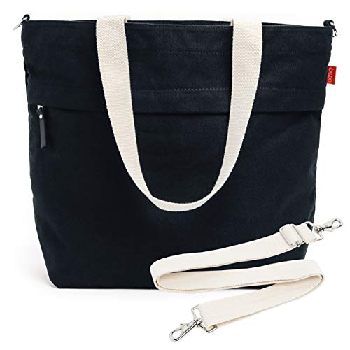 Caldo Canvas Market Tote - Large Travel Bag with Outer Zipper Pocket and Adjustable Shoulder Strap (Black)